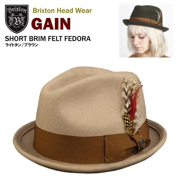 amb  Brixton gain short brim felt Fedora light tan   brown (Brixton ... c8e7dd784