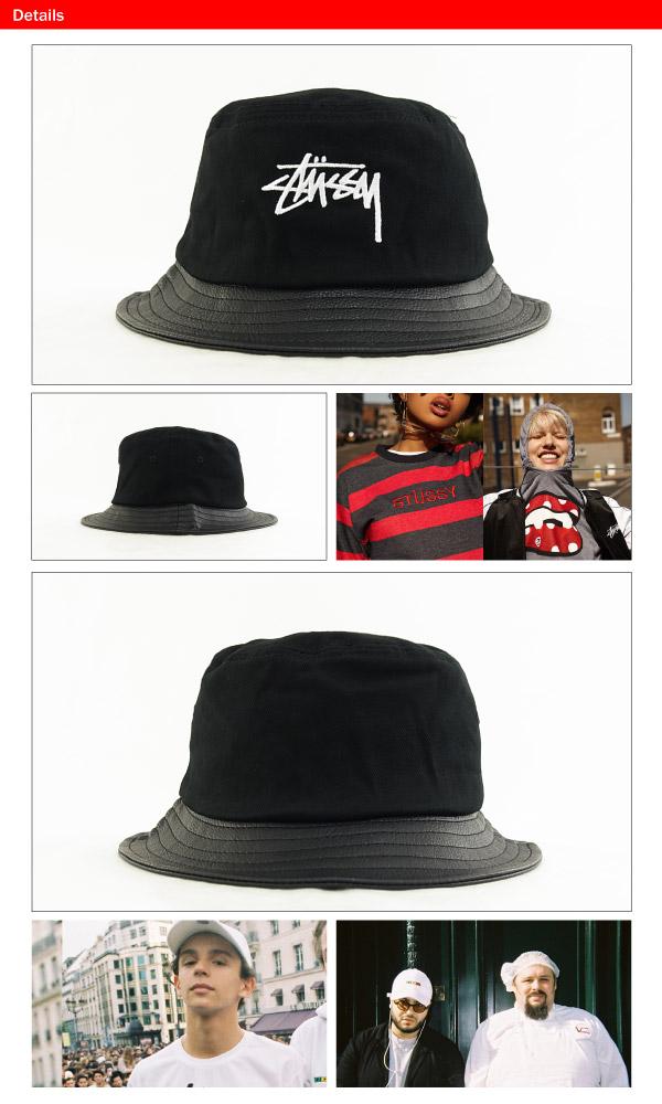 1e2cc62009a84b ... Stussy stock leather brim bucket Hat Black (HAT BRIM BUCKET, STUSSY  STOCK LEATHER 132703 ...