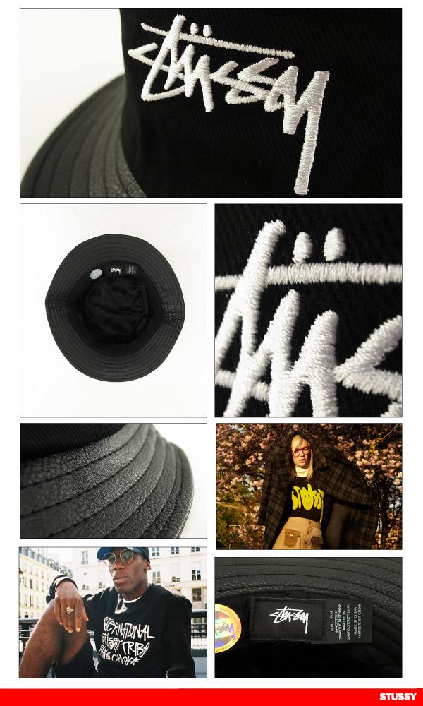 c0a01c7fe7ed30 ... Stussy stock leather brim bucket Hat Black (HAT BRIM BUCKET, STUSSY  STOCK LEATHER 132703