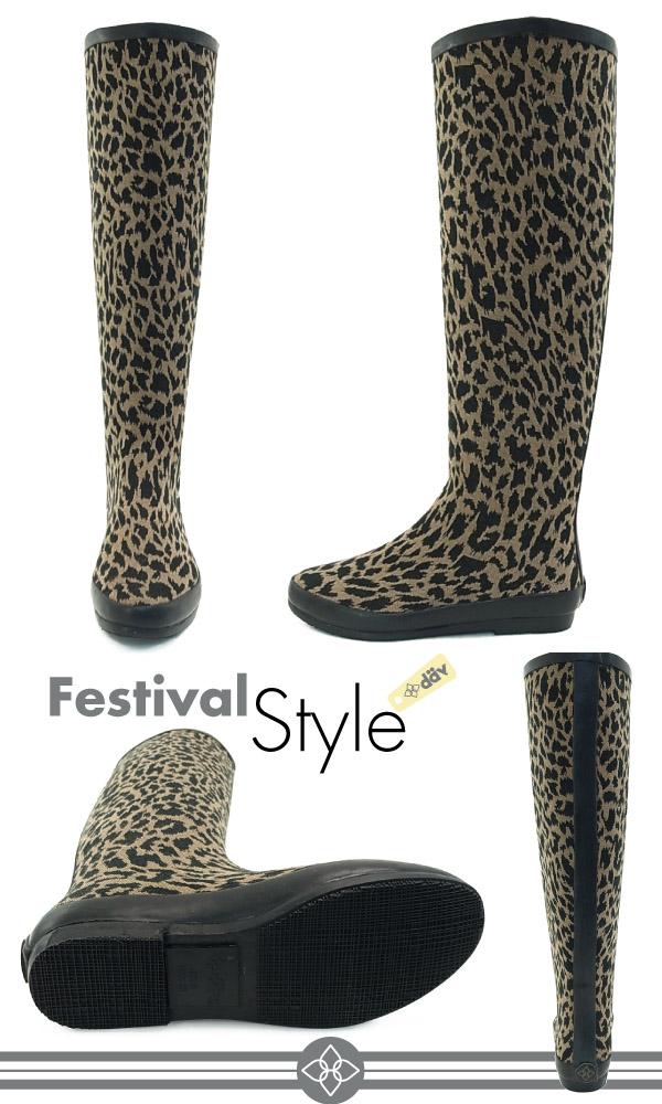 73adea01974d Dub Festival rubber boots Leopard khaki (dav FESTIVAL RUBBER BOOTS) Dave boots  rain boots boots long DAV ladies (female)