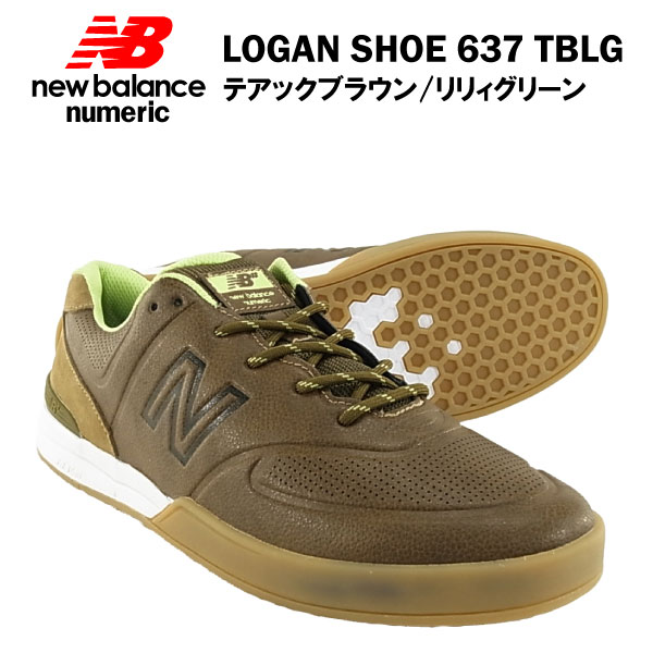 ニューバランス ローガン シュー 637 テアックブラウン/リリィグリーン ヌメリック スケート スケーター (NEW BALANCE LOGAN SHOE NUMERIC 637 TBLG スニーカー シューズ)