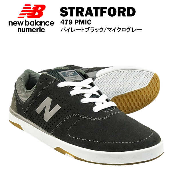 ニューバランス ストラトフォード シュー 479 パイレートブラック/マイクログレー ヌメリック スケート スケーター (NEW BALANCE STRATFORD SHOE NUMERIC 479 PMIC スニーカー シューズ)