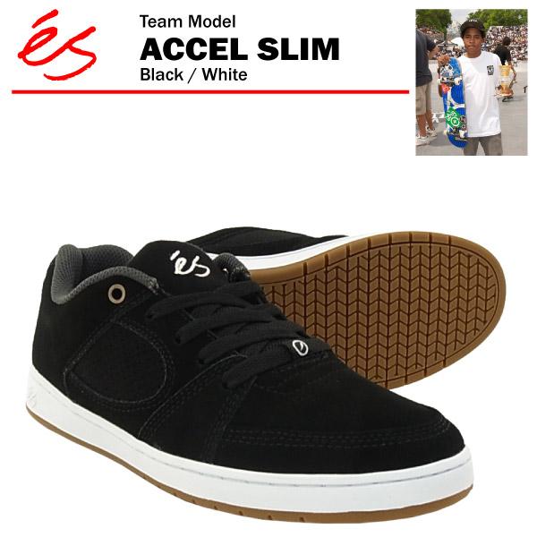エス アクセル スリム ブラック/ホワイト スケート スケーター スニーカー (es ACCEL SLIM)