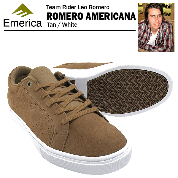 エメリカ ロメロ アメリカーナ タン/ホワイト スケート スケーター スニーカー (Emerica ROMERO AMERICANA)