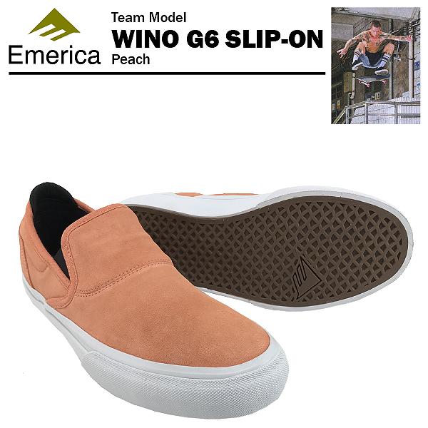エメリカ ワイノ G6 スリップオン ピーチ スケート スケーターシューズ (Emerica WINO G6 SLIP-ON)