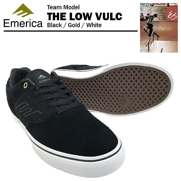 エメリカ ザ ロー VULC ブラック/ゴールド/ホワイト スケート スケーター スニーカー (Emerica THE LOW VULC)