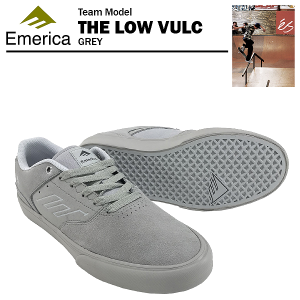 エメリカ ザ ロー VULC グレー スケート スケーター スニーカー (Emerica THE LOW VULC)