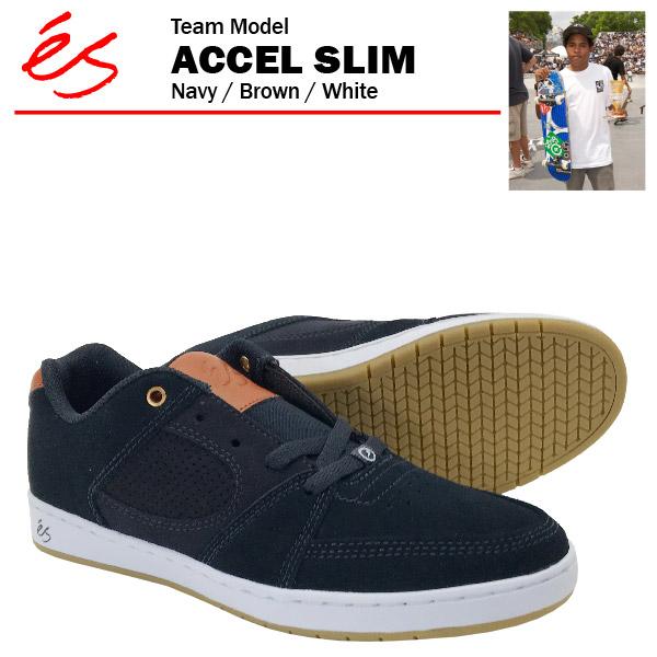 エス アクセル スリム ネイビー/ブラウン/ホワイト/26cm スケート スケーター スニーカー (es ACCEL SLIM) 【あす楽対応】【あす楽_土曜営業】