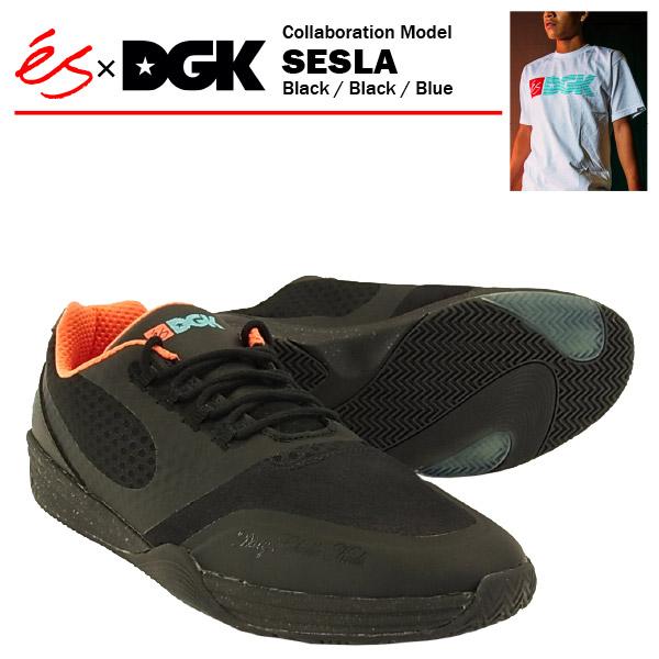 エス×DGK セスラ ブラック/ブラック/ブルー スケート スケーター スニーカー (es×DGK SESLA)【あす楽対応】【あす楽_土曜営業】