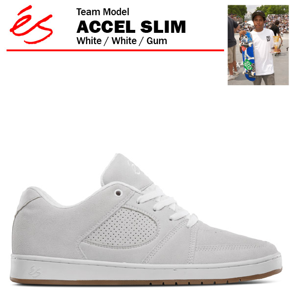 エス アクセル スリム ホワイト/ホワイト スケート スケーター スニーカー (es ACCEL SLIM)