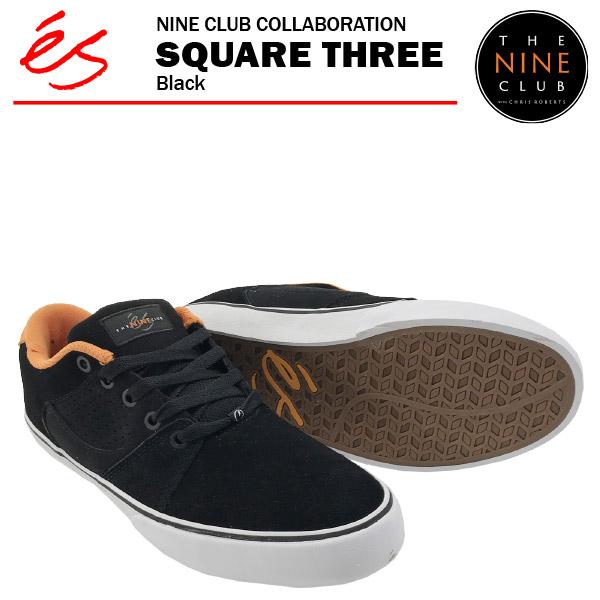 エス×ナインクラブ スクエア スリー ブラック スケート スケーター スニーカー (es × NINE CLUB SQUARE THREE)