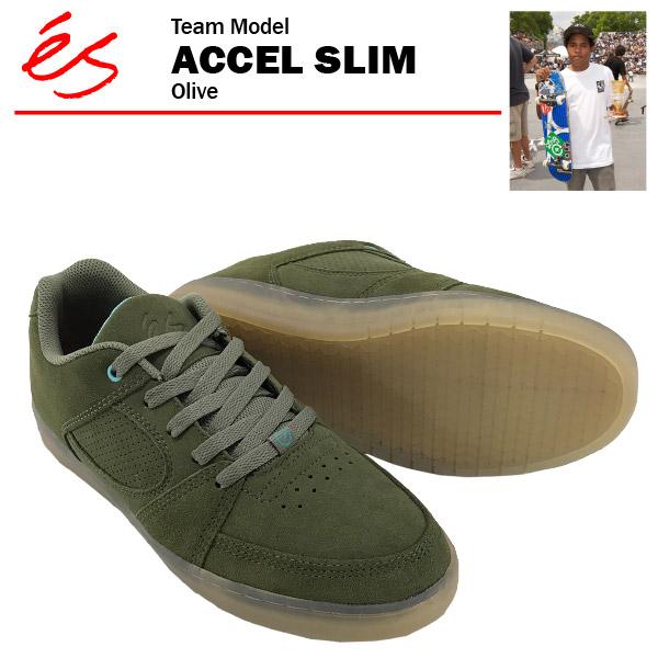 エス アクセル スリム オリーブ スケート スケーター スニーカー (es ACCEL SLIM)