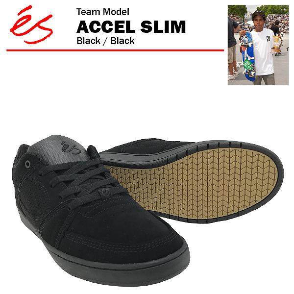 エス アクセル スリム ブラック/ブラック スケート スケーター スニーカー (es ACCEL SLIM)