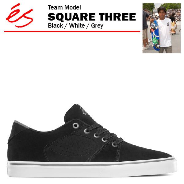 エス スクエア 3 ブラック/ホワイト/グレー スケート スケーター スニーカー (es SQUARE THREE 3 スリー)