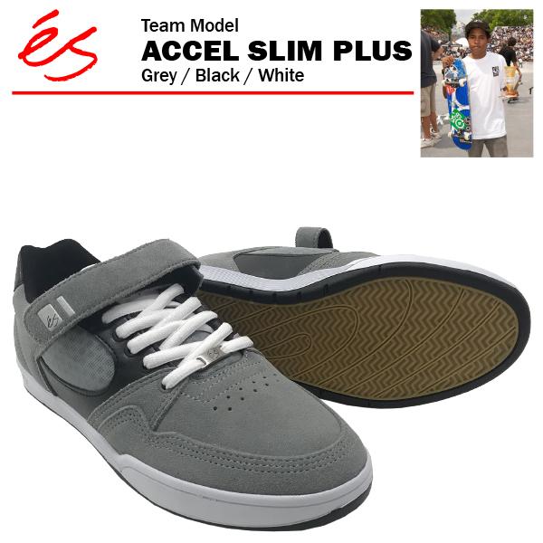 エス アクセル スリム プラス グレー/ブラック/ホワイト スケート スケーター スニーカー (es ACCEL SLIM PLUS)