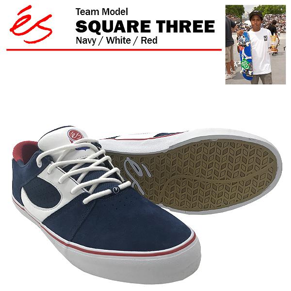 エス スクエア 3 スリー ネイビー/ホワイト/レッド スケート スケーター スニーカー (es SQUARE THREE 3)