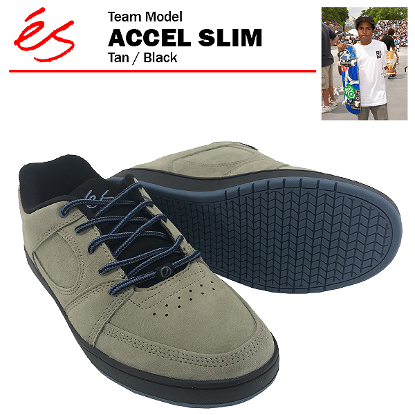 エス アクセル スリム タン/ブラック スケート スケーター スニーカー (es ACCEL SLIM)