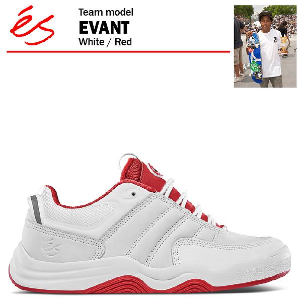 エス エヴァント ホワイト/レッド スケート スケーター スニーカー (es EVANT)