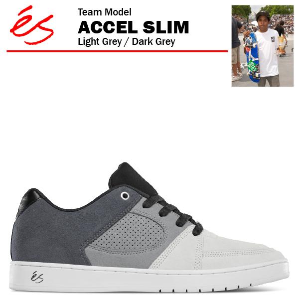 エス アクセル スリム ライトグレー/ダークグレー スケート スケーター スニーカー (es ACCEL SLIM)