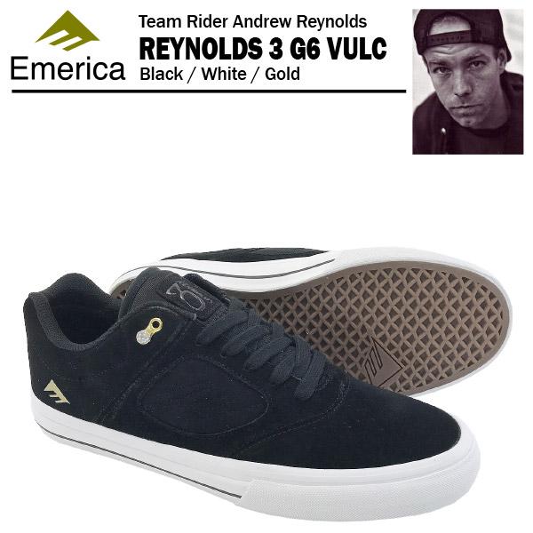 エメリカ レイノルズ 3 G6 VULC ブラック/ホワイト/ゴールド スケート スケーター スニーカー (Emerica REYNOLDS 3 G6 VULC)