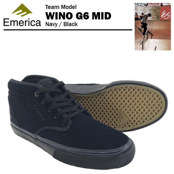 エメリカ ワイノ G6 ミッド ネイビー/ブラック スケート スケーターシューズ (Emerica WINO G6 MID) 【あす楽対応】【あす楽_土曜営業】