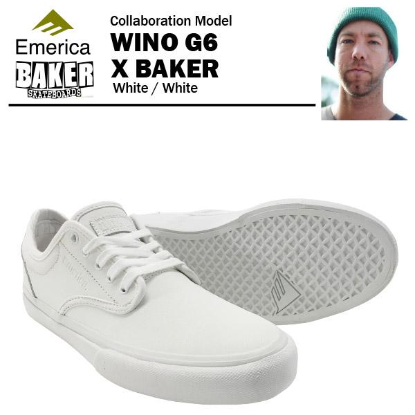 エメリカ×ベイカー ワイノ G6 ホワイト/ホワイト スケート スケーターシューズ (Emerica×BAKER WINO G6) 【あす楽対応】【あす楽_土曜営業】