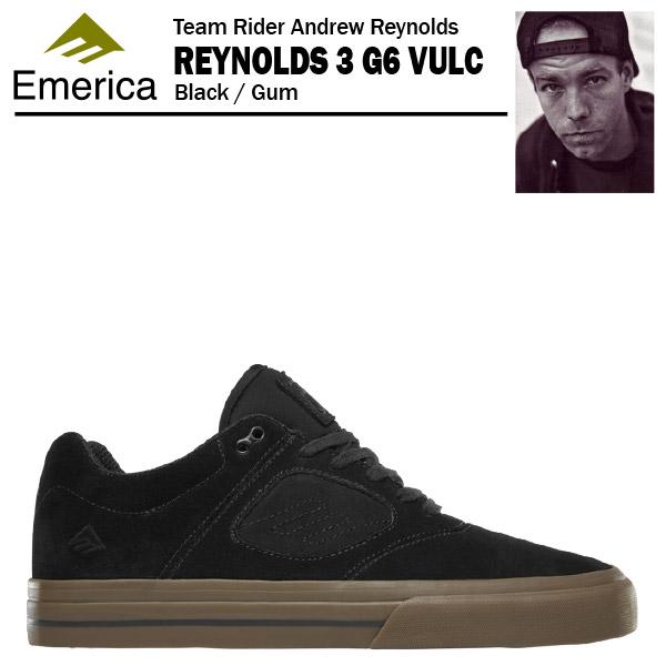 エメリカ レイノルズ 3 G6 VULC ブラック/ガム スケート スケーター スニーカー (Emerica REYNOLDS 3 G6 VULC)