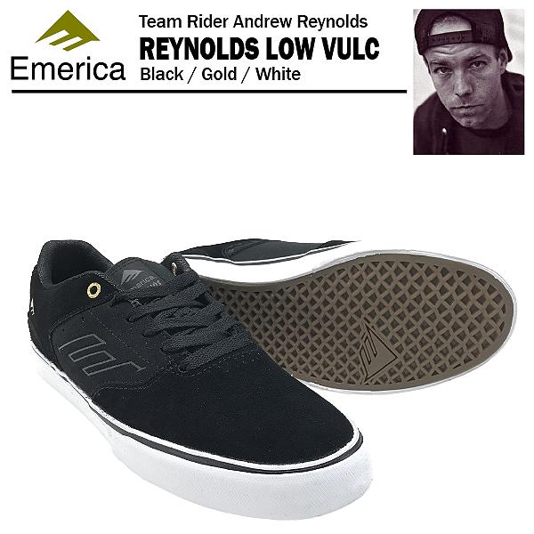 エメリカ ザ・レイノルズ ロー VULC ブラック/ゴールド/ホワイト スケート スケーター スニーカー (Emerica THE REYNOLDS LOW VULC)