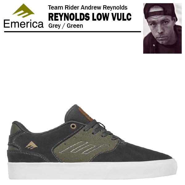 エメリカ ザ・レイノルズ ロー VULC グレー/グリーン スケート スケーター スニーカー (Emerica THE REYNOLDS LOW VULC)