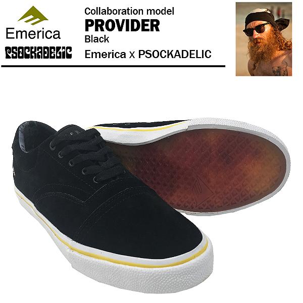エメリカ×ソッケデリック プロバイダー ブラック スケート スケーター シューズ (Emerica × PSOCKADELIC PROVIDER)