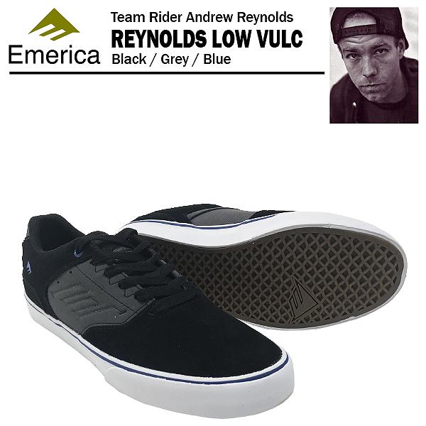 エメリカ ザ・レイノルズ ロー VULC ブラック/グレー/ブルー スケート スケーター スニーカー (Emerica THE REYNOLDS LOW VULC)