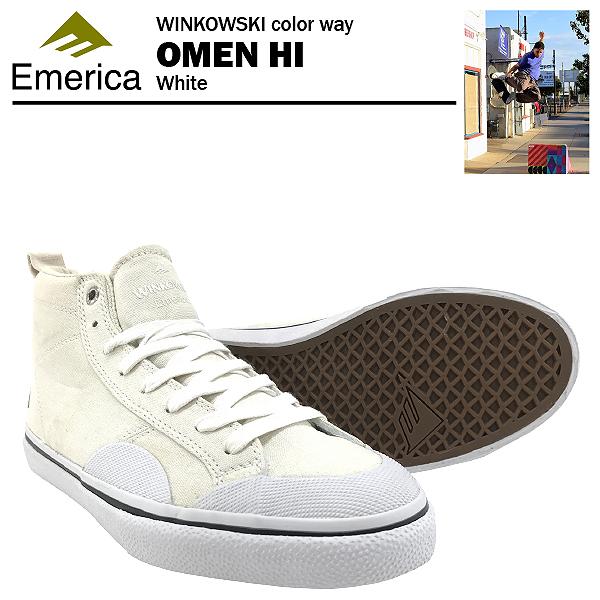 エメリカ オーメンハイ エリック・ウィンコウスキーカラー ホワイト スケート スケーター スニーカー (Emerica OMEN HI ERICK WINKOWSKI)