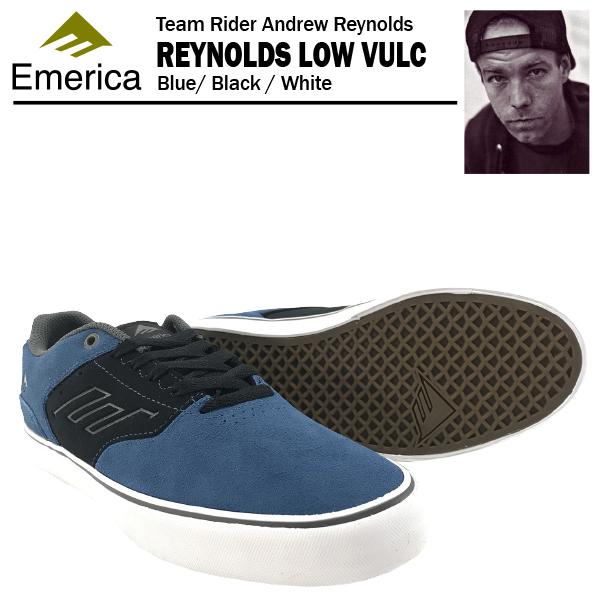 エメリカ ザ・レイノルズ ロー VULC ブルー/ブラック/ホワイト スケート スケーター スニーカー (Emerica THE REYNOLDS LOW VULC)