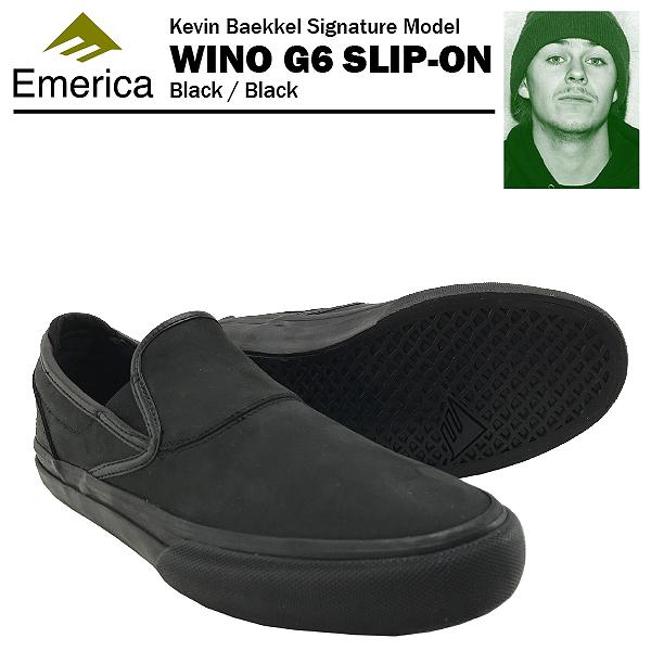 エメリカ ワイノ G6 スリップオン ケビン・ベッケル ブラック/ブラック スケート スケーターシューズ (Emerica WINO G6 SLIP-ON Kevin Baekkel)