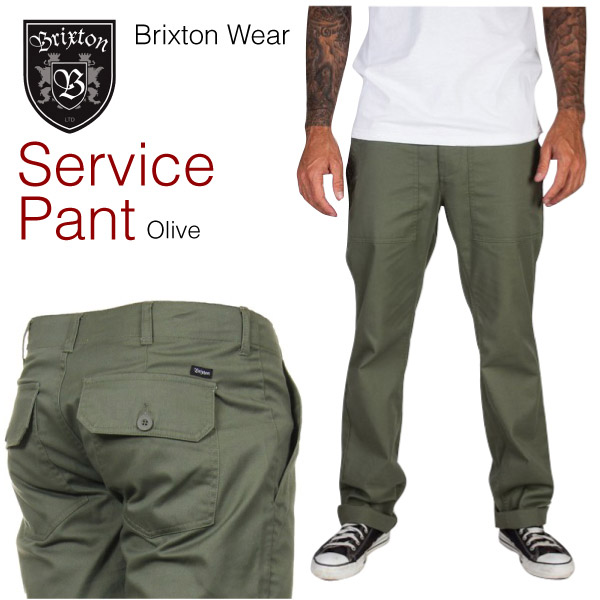 amb  Brixton service military inspired cotton twill pants olive ... 7548095a5a7