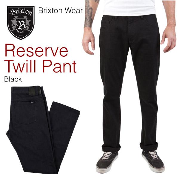 ブリクストン リザーブ 5ポケット ヘビー コットン ツイル スリムストレートパンツ ブラック (Brixton RESERVE 5POCKET HEAVY COTTON TWILL STRAIGHT SLIM PANTS)