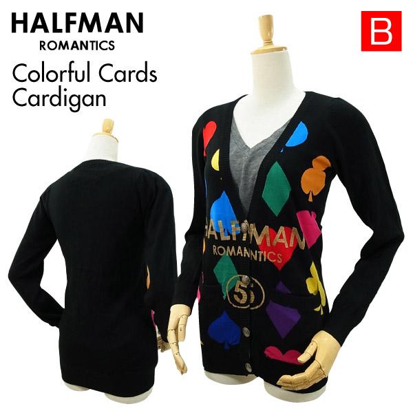 ハーフマン カラフル カード カーディガン ブラック Sサイズ HALF 女性用 CARDIGAN ギフト CARDS COLORFUL MAN 公式通販 レディース