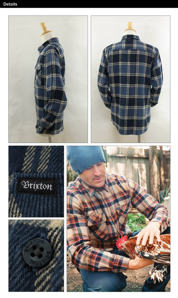 Brixton Bowery l/s flannel shirt slate blue (Brixton BOWERY l/s FLANNEL) [may end in stock]