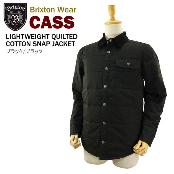 ブリクストン キャス ライトウエイト キルティング コットン スナップジャケット ブラック/ブラック (BRIXTON CASS LIGHTWEIGHT QUILTED COTTON SNAP JACKET)