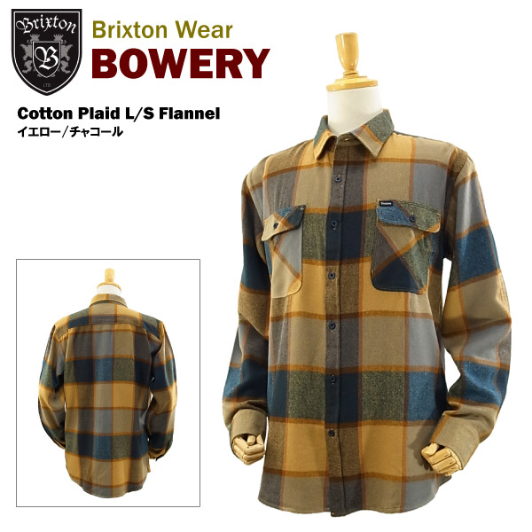 8196d90150bf amb  Brixton Bowery cotton Plaid l s flannel shirt yellow   charcoal ...
