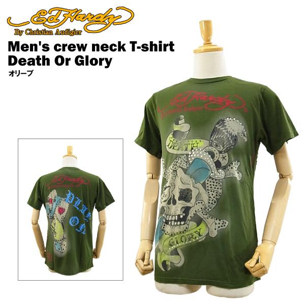 エド ハーディー ラインストーン メンズ クルーネックTシャツ デス オア グローリー (ED HARDY Men's crew neck T-shirt Death Or Glory エドハーディー) 【あす楽対応】【あす楽_土曜営業】