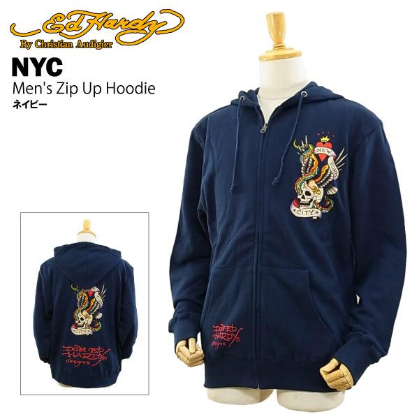 エド ハーディー メンズ ジップアップ フーディー ニューヨークシティー ネイビー (Men's Zip Up Hoodie NYC ED HARDY EDHARDY エドハーディー) 【あす楽対応】【あす楽_土曜営業】