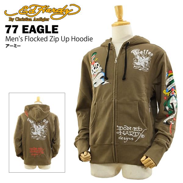 エド ハーディー メンズ フロックド ジップアップ フーディー 77 イーグル アーミー (Men's Flocked Zip Up Hoodie 77 EAGLE ED HARDY EDHARDY エドハーディー) 【あす楽対応_東北】【あす楽対応_関東】【あす楽対応_近畿】