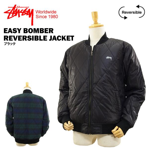 ステューシー イージー ボンバー リバーシブル ジャケット ブラック (STUSSY EASY BOMBER REVERSIBLE JACKET 115250) 【あす楽対応】【あす楽_土曜営業】