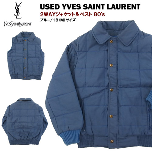 VINTAGE イブサンローラン 2WAYジャケット 80's size 18 (M) [YVESSAINT LAURENT] 【あす楽対応】【あす楽_土曜営業】【海外直輸入USED品】
