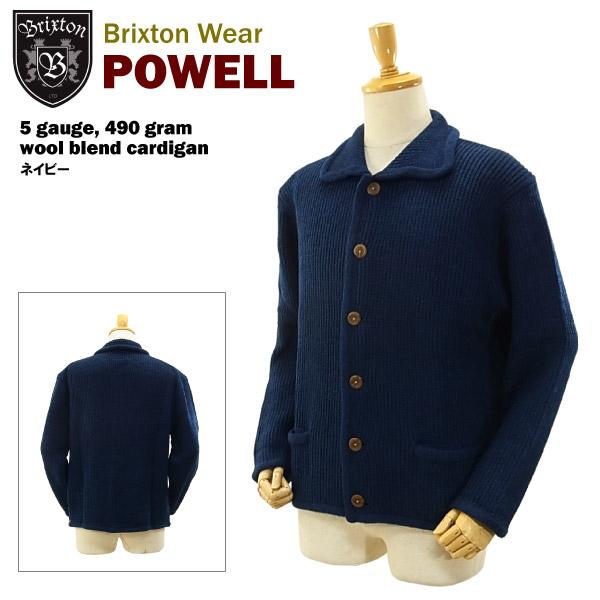 ブリクストン パウエル 5ゲージ 490g ウールブレンド カーディガン ネイビー (Brixton POWELL 5 gauge, 490 gram wool blend cardigan)