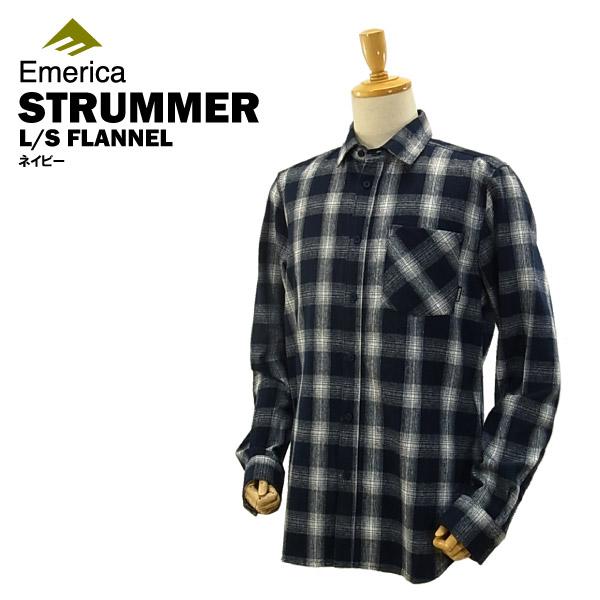 エメリカ ストラマー L/S フランネル ネイビー スケート スケーター ウエアー (Emerica STRUMMER L/S FLANNEL ネルシャツ) 【あす楽対応】【あす楽_土曜営業】