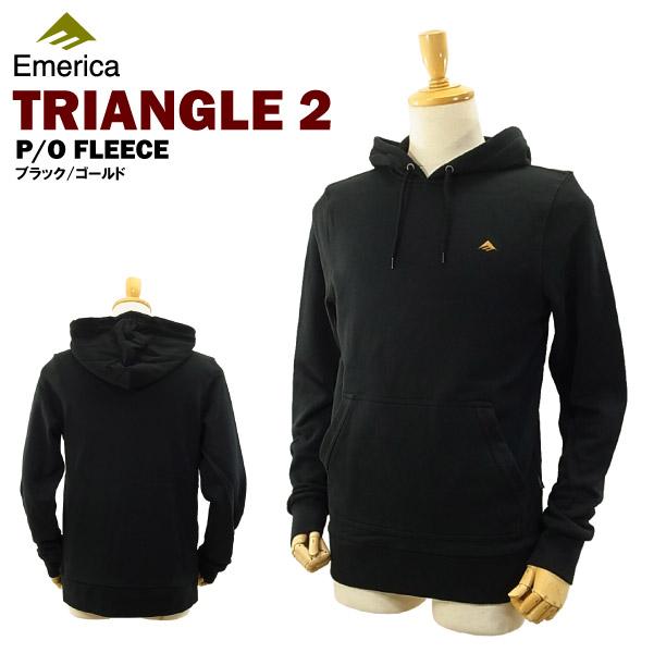 エメリカ トライアングル 2 プルオーバー フリース ブラック/ゴールド/Sサイズ スケート スケーターウエアー (Emerica TRIANGLE 2 P/O FLEECE)