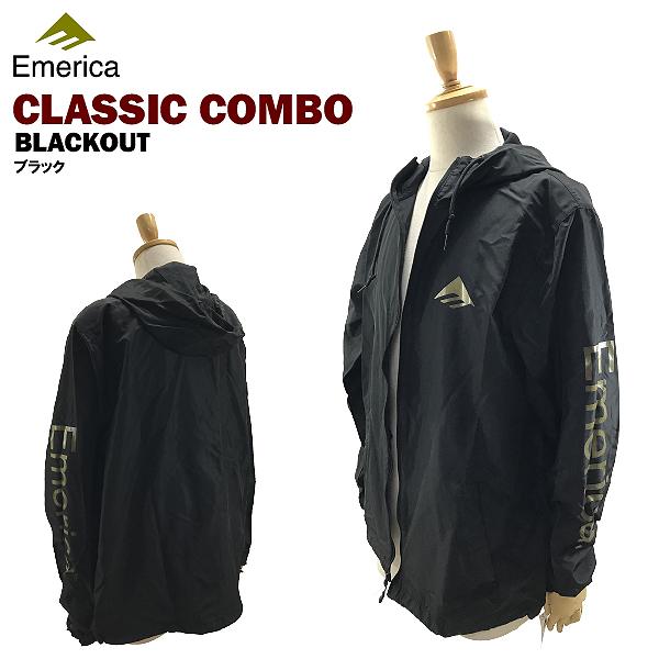 エメリカ クラシック コンボ ブラックアウト ブラック フード コーチジャケット ナイロンジャケット スケート スケーターウエアー (Emerica CLASSIC COMBO BLACKOUT JACKET)