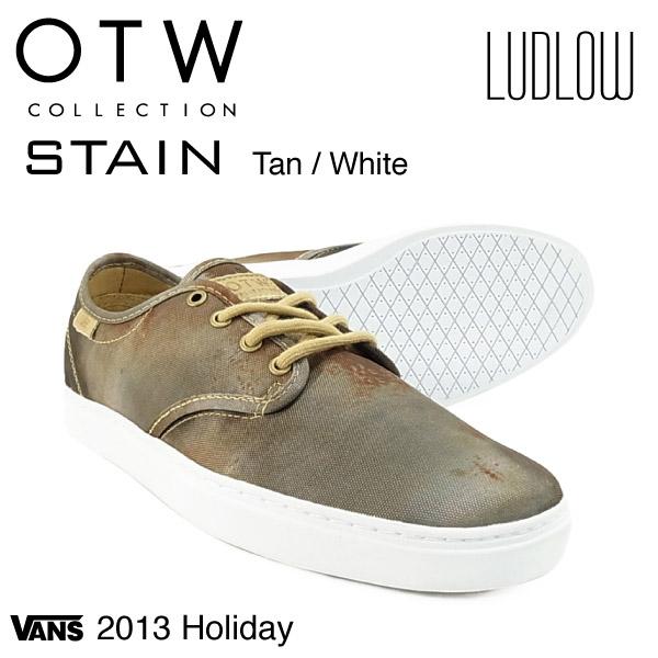バンズ ラドロー ステイン ラスト:タン/ホワイト/26cm オブ・ザ・ウォール (VANS LUDLOW STAIN OTW スニーカー シューズ)